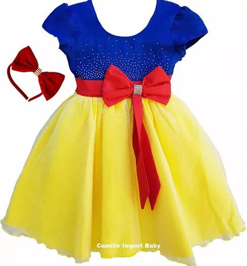 Vestido De Festa Infantil Luxo Branca De Neve 4 A16 E Tiara
