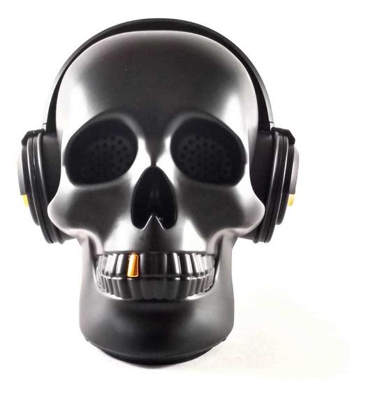 Caixa De Som Bluetooth Portatil Bluetooth Caveira D-6 Pta