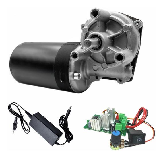 Motor Com Redução Motoredutor Corrente Continua Dc 12v 60rpm Alto Torque + Fonte + Controlador Velocidade Com Reversão