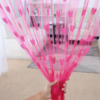 Cortina De Coração Pink De Tiras Decorativas