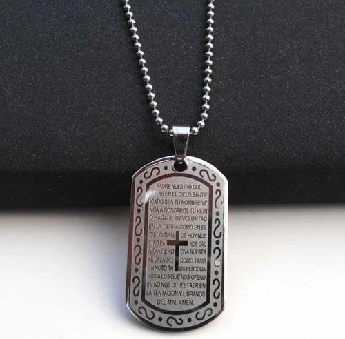 Placa Collar Dije Padre Nuestro Acero Cadena Acero
