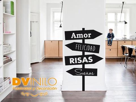 Vinilo Decorativo - Cartel Direccion - Amor - Risas
