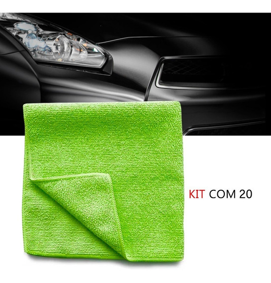 Kit 20 Pano Microfibra Automotiva Flanela Anti-risco Verde
