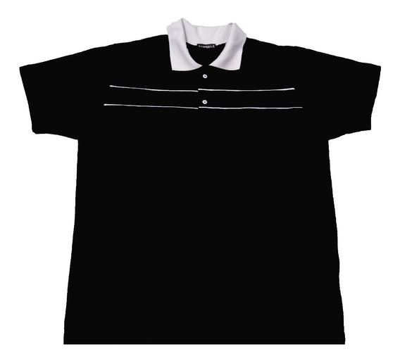 Camisa Polo Plus Size Extra Listrado Masculino Camiseta Zamb