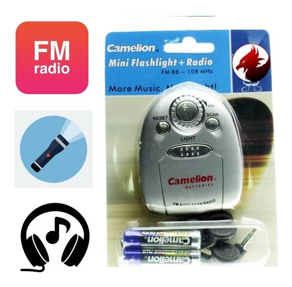Mini Radio Fm Portatil Auto Scan Audifonos Linterna Baterias