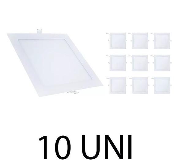 Kit 10 Painel Plafon Led 18w Embutir Quadrado Luminária