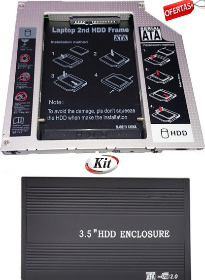 Kit Caddy Leitor Hd 3,5 Sata Usb Uso Em Consoles Pc Notebook