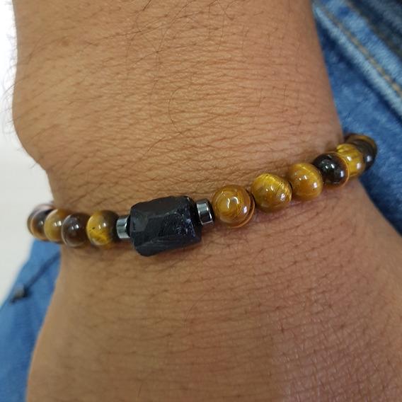 Pulseira Masculina Biojoia Legitima Turmalina Negra E Olho De Tigre Pedra Natural Bracelete Amuleto Proteção