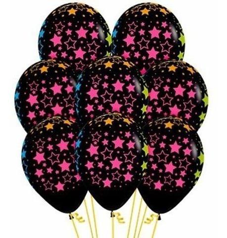 Pack De 9 Globos Negros Con Estrellas Fluo Neon