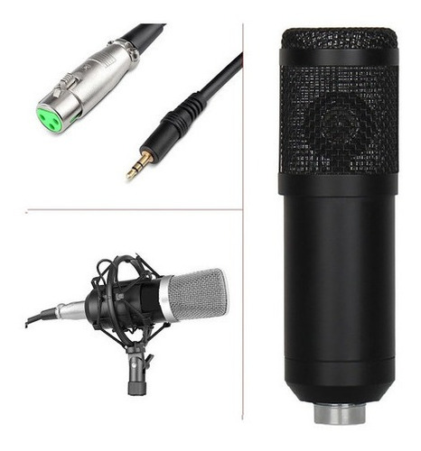 Microfono Condenser Hügel Negro C/ Cable Soporte Araña