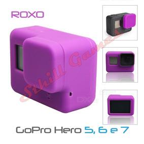 Capa Protetora + Tampa Em Silicone Gopro Hero 5, 6 E 7 Roxo