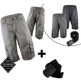 Bermuda Shorts Cargo Militar Cores Preta Creme + Brinde