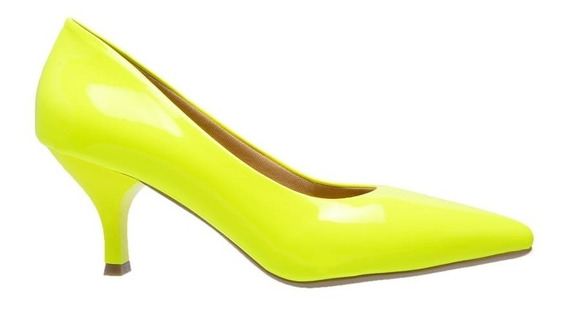 Sapato Feminino Scarpin Verniz Salto 4,5 Cm - Varias Cores