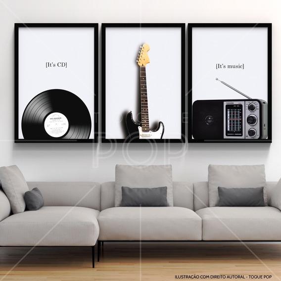 Conjunto 3 Quadros Musical Retro Vintage Sala Quarto Estudio
