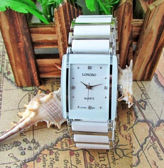 Relógio Feminino Longbo Branco Prata White Silver Quadrado
