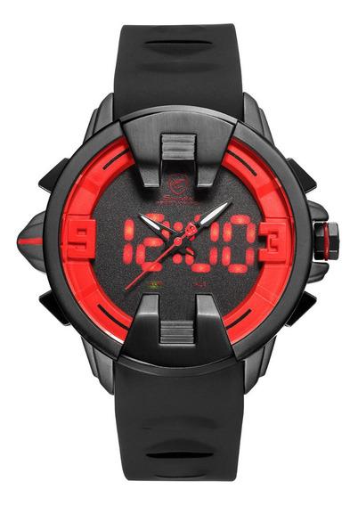 Relógio Masculino Shark Anadigi Sh-558 - Preto E Vermelho