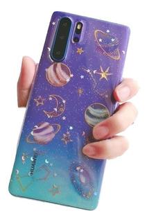 Funda Mármol Flores Galaxia Diamante Láser Para Huawei