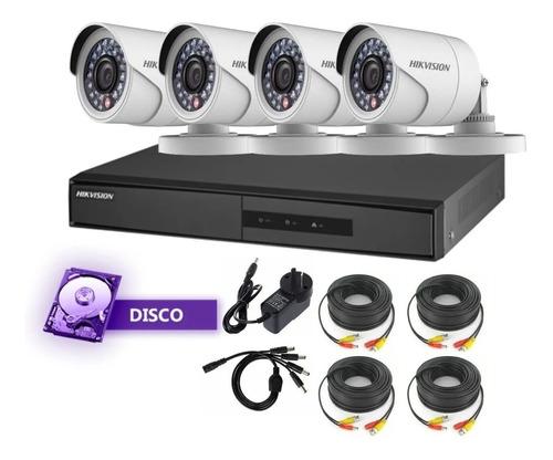 Imagen 1 de 8 de Kit Hikvision Camaras 1080p + Dvr 8ch + Disco+ Accesorios!