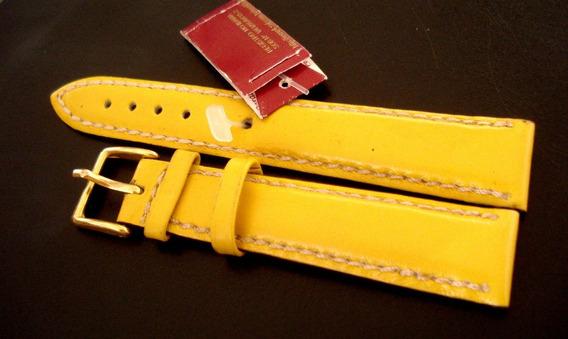 Pulseira Relogio 18 Mm Chainon Costura Amarela
