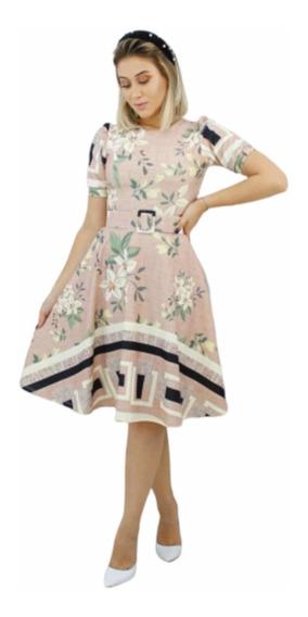 Vestido Midi Godê Manga Bufante Com Cinto Moda Evangélica