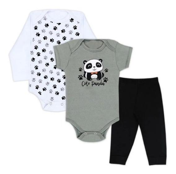 3 Pçs Roupa Bebê Body Panda Bodi Neném Unisex Menino Menina