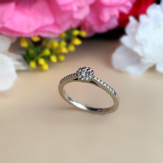 Anillo De Compromiso Diamante Natural .10 Ct Oro Blanco 14k