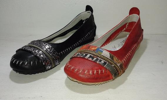 Chatitas Ballerinas Zapatos Mujer Cuero Brillo Cierre