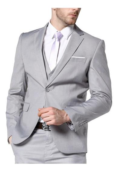 Blazer Masculino Cinza Claro Slim + Calça+ Camisa+ Colete