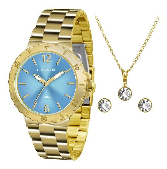 Kit Relógio Feminino Lince Lrgh036l Kt95a2kx Colar + Brinco