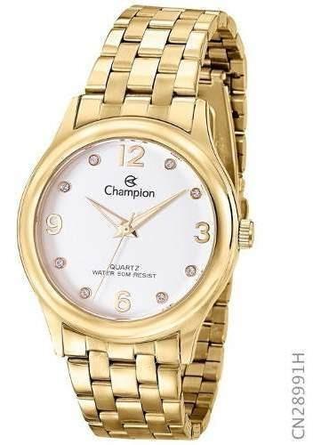 Relógio Feminino Banhado A Ouro 18 K Champion Cn28991h Top