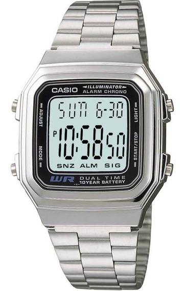 Relógio Casio Unissex Vintage Digital Prata Dual Time