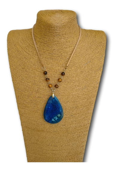 Colar De Pedra Jaspe Azul Com Olho De Tigre Ref. 0051