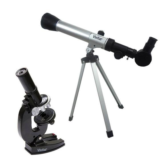 Kit Infantil Telescópio E Microscópio Vivitar Vivtelmic20