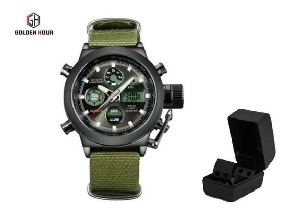 Relógio Militar Goldenhour - Pronta Entrega