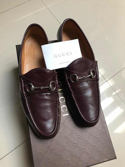 Zapatos Gucci De Piel Italianos Tinto 8 Mex Con Caja