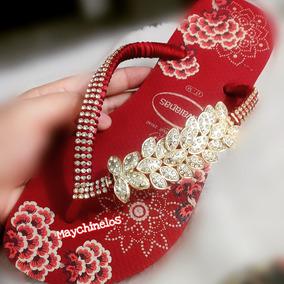 Sandálias Chinelos Havaianas Decorados Customizados Folhagem