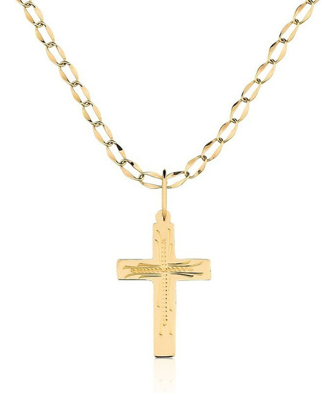 Pingente Cruz Ouro Maciço 10k + Corrente 70 Cm