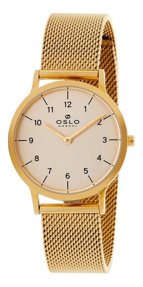 Relógio Feminino Slim Dourado Todos Os Números Oslo Original