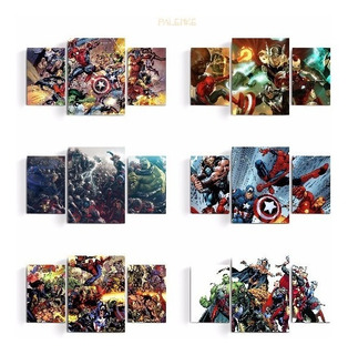 Cuadros Tripticos Avengers Civil War Superheroe Marvel Comic