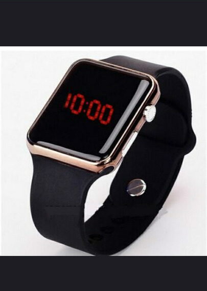 Squere Mirror Face Silicone Band Digital Red Led Metal