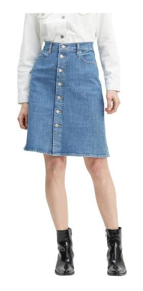 Saia Jeans Levis A Line Midi Button - Feminino 00000