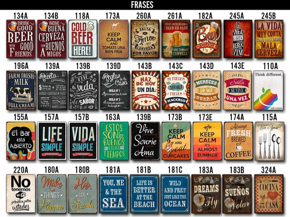 Carteles Chapa Rústica Vintage Varios Diseños 20x28cm