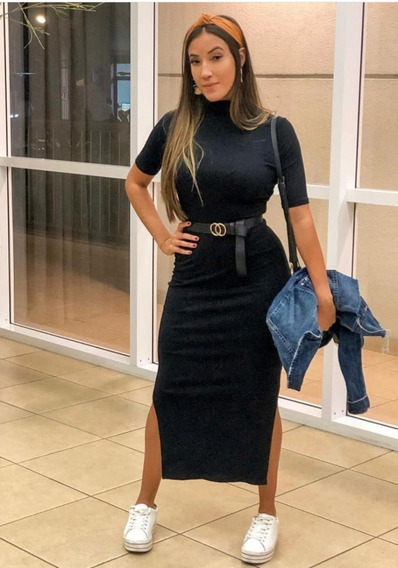 Vestido Midi Gola Alta Moda Canelado Mangas Longuete