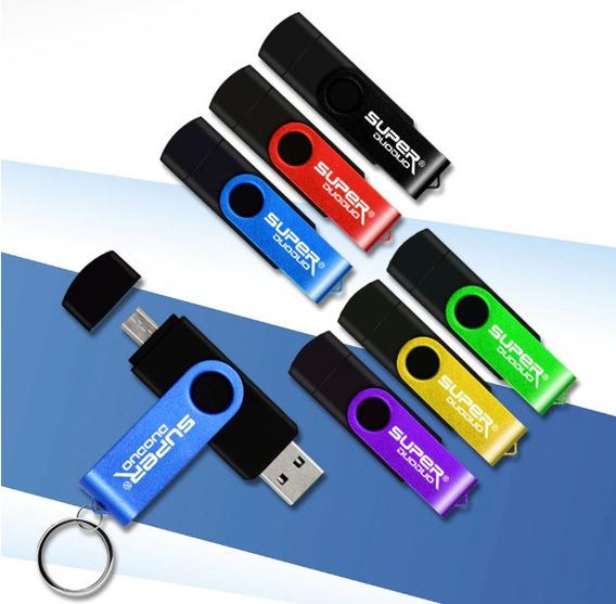 Pen Drive 64gb Duas Entradas Micro Usb E Usb 2.0 C/ Otg..