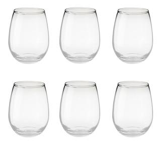 Vaso Vidrio Copa S/tallo Copón Vino Gourmet Rigolleau X6