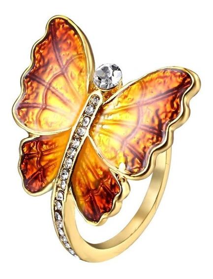 Precioso Anillo Mariposa Cristales Swarovski A-097