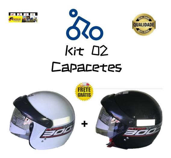 Kit 02 Capacetes Gow Aberto Com Viseira Preto E Branco