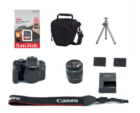 Canon Rebel T7i C/ 18-55mm+ 32gb+ Bolsa+ Tripé+ Bat. Extra