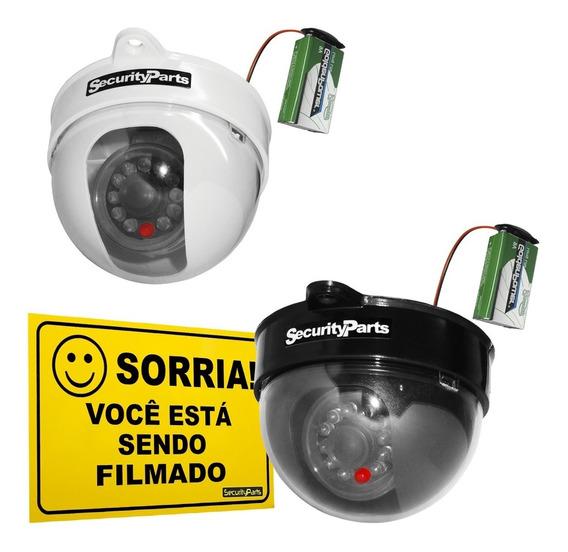Câmera Dome Infravermelho Falsa C/ Led A Pilha S/ Fio Brinde