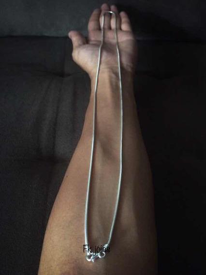 Cordão Italiano Rabo De Rato 80cm X 2mm Em Prata 925 Maciça
